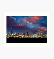 Chicago Skyline Sunset Art Print
