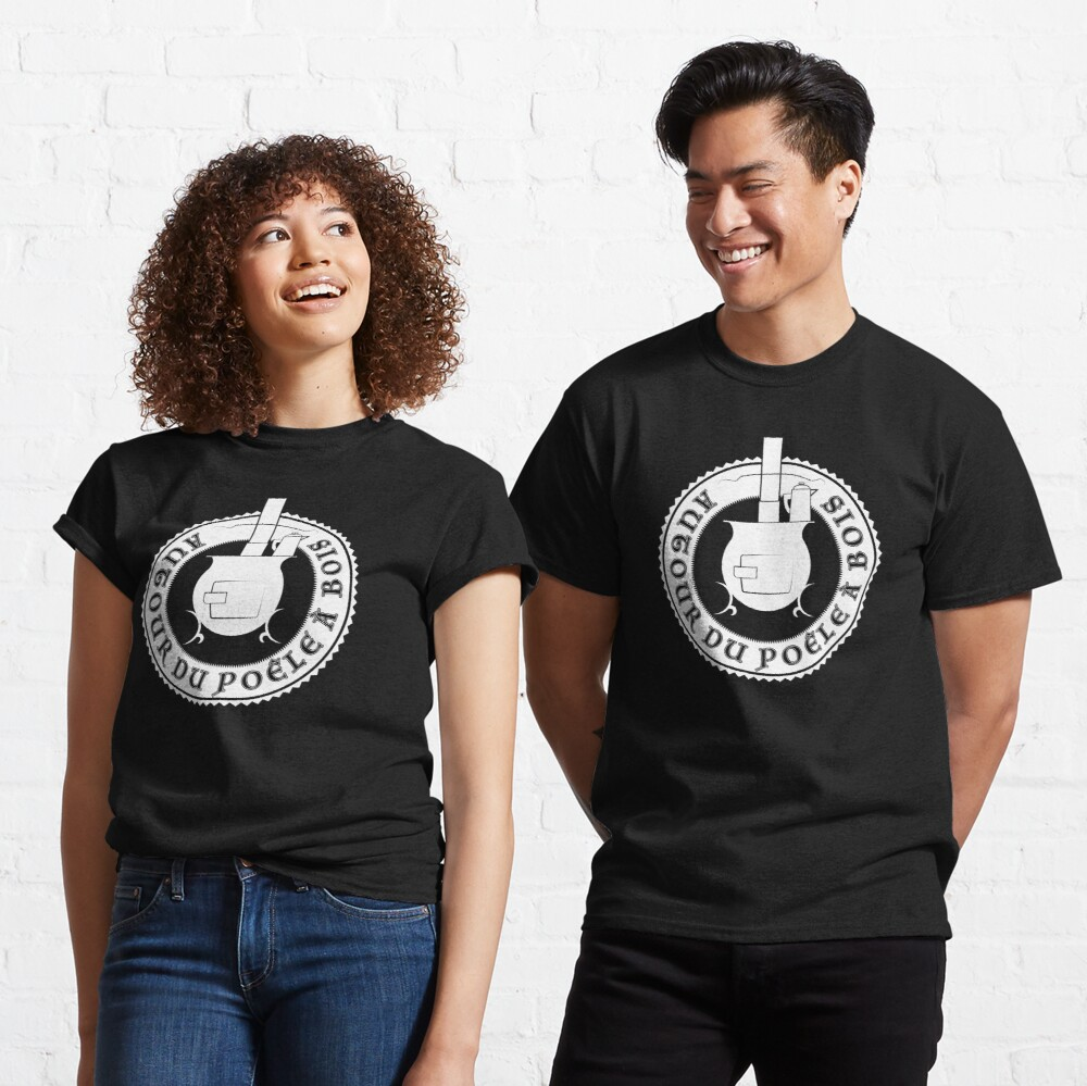 T-shirt classique «Logo Autour du poêle à bois (blanc)»