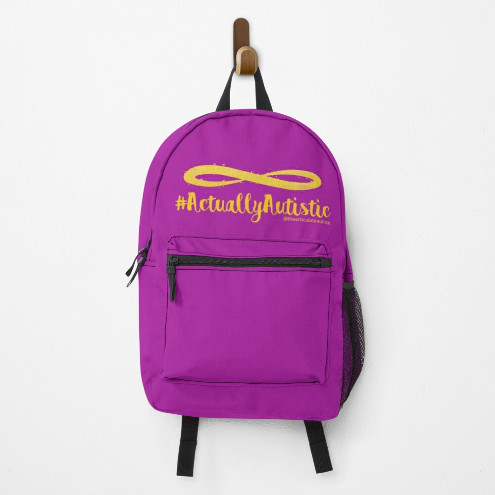 The Articulate Autistic Gold Infinity Logo Backpack