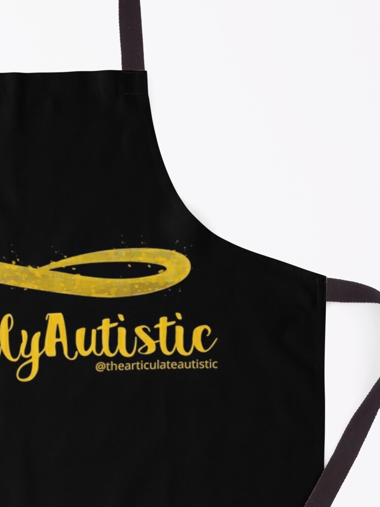 Alternate view of The Articulate Autistic Gold Infinity Logo Apron