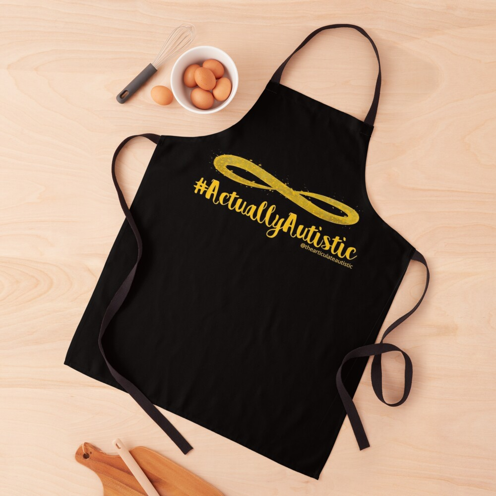 The Articulate Autistic Gold Infinity Logo Apron