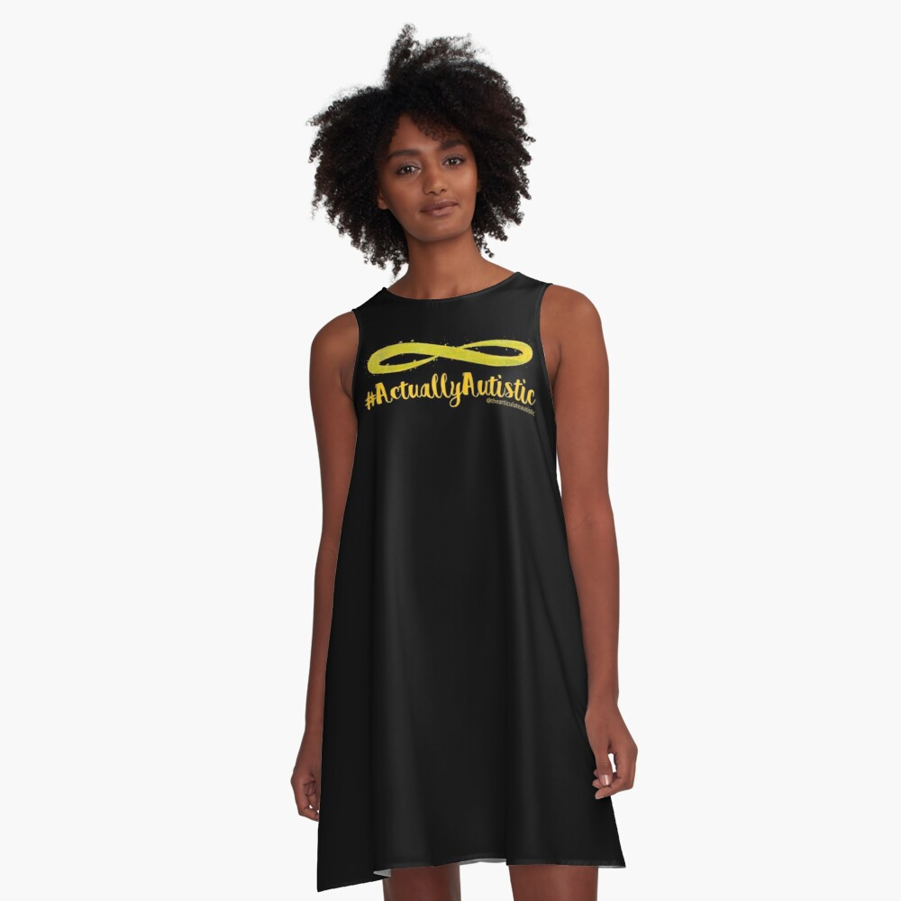 The Articulate Autistic Gold Infinity Logo A-Line Dress