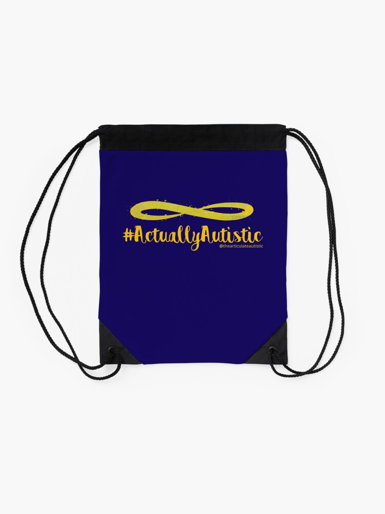 Alternate view of The Articulate Autistic Gold Infinity Logo Drawstring Bag