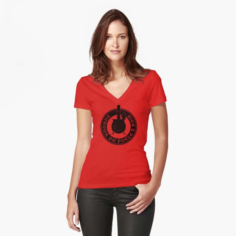 T-shirt moulant col V «Logo Autour du poêle à bois (noir)»