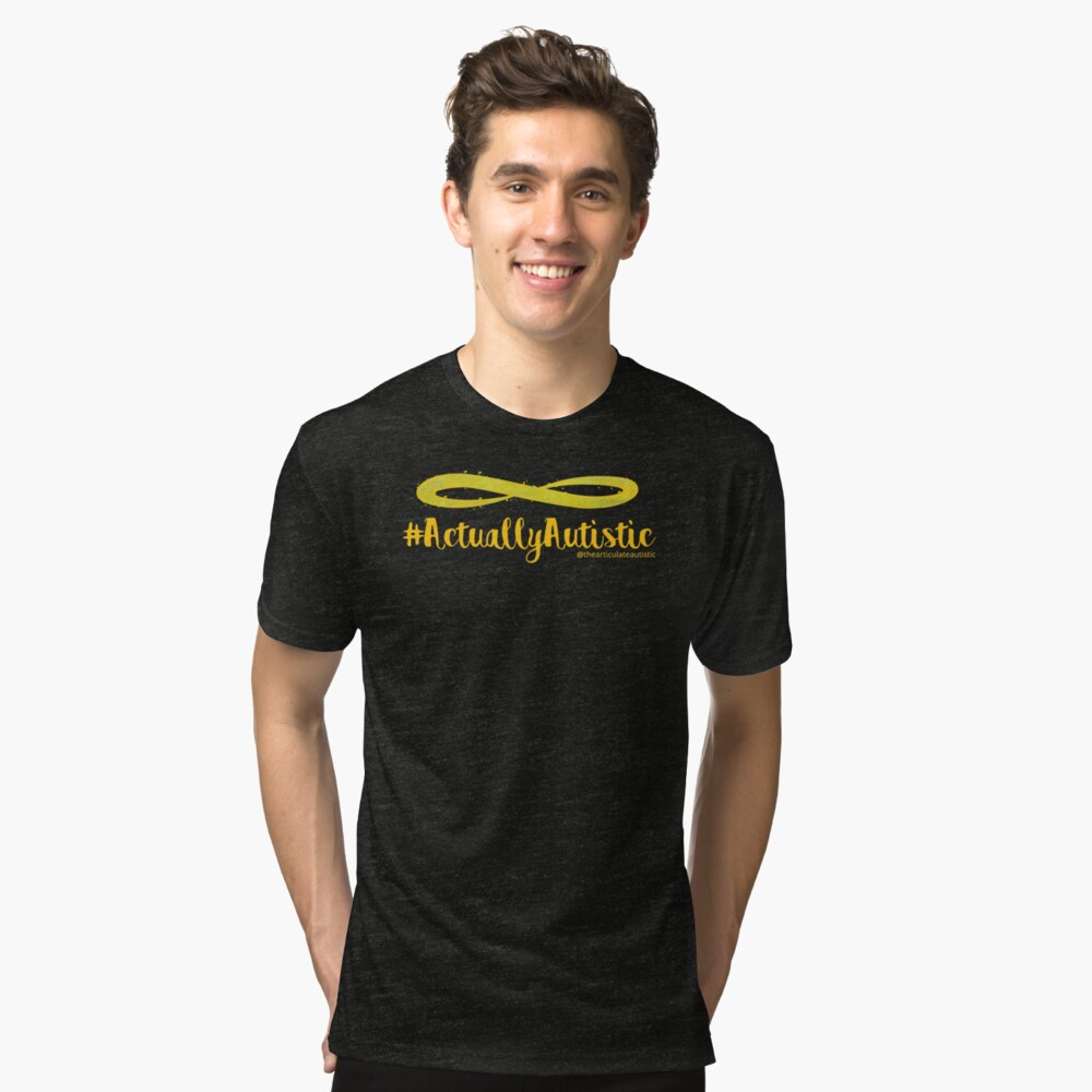 The Articulate Autistic Gold Infinity Logo Tri-blend T-Shirt