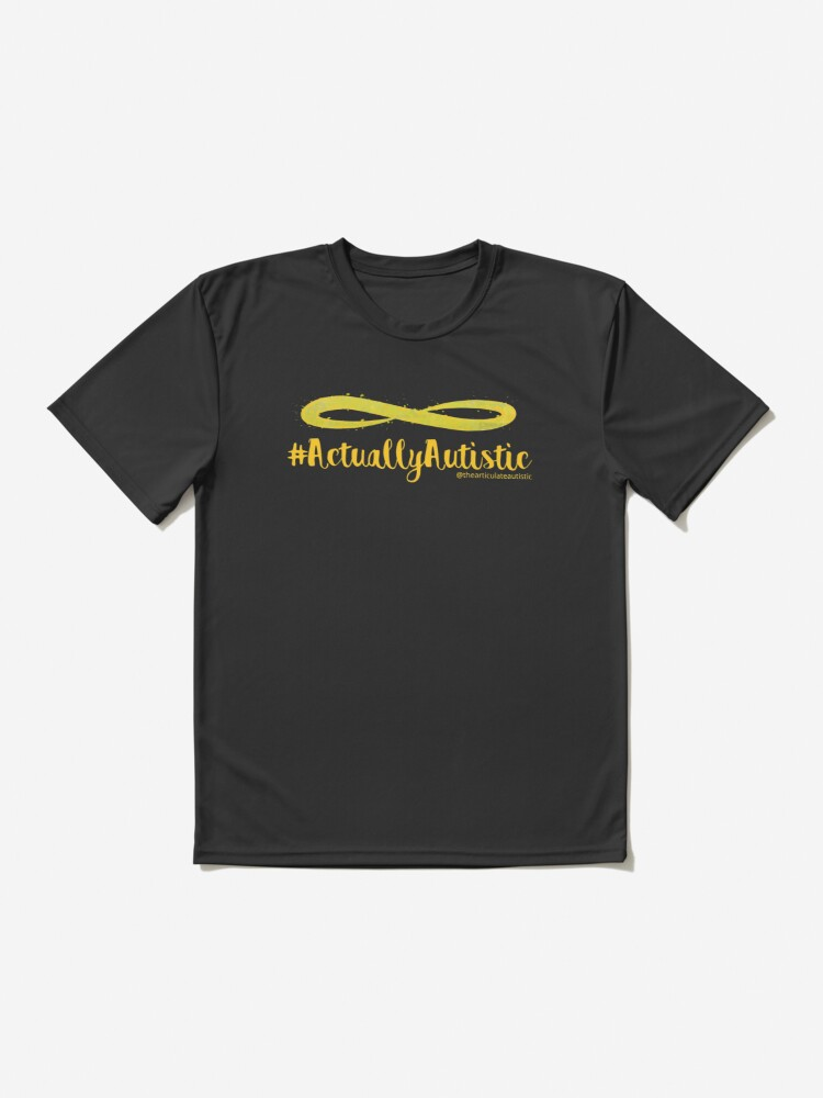Alternate view of The Articulate Autistic Gold Infinity Logo Active T-Shirt