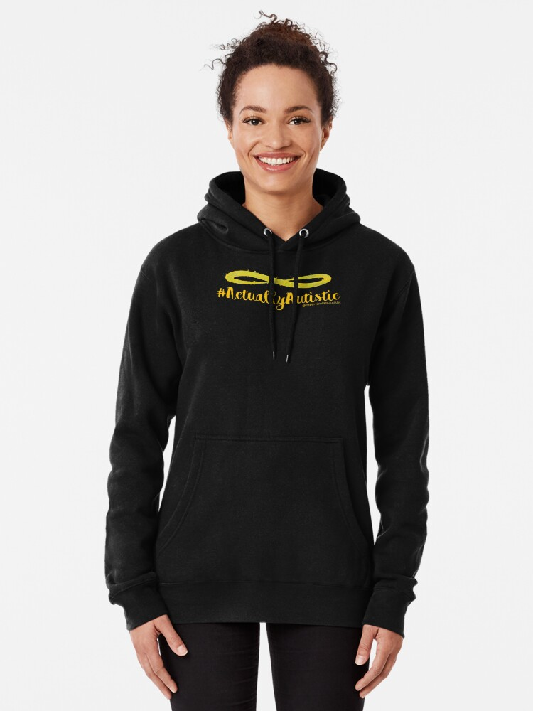 Alternate view of The Articulate Autistic Gold Infinity Logo Pullover Hoodie