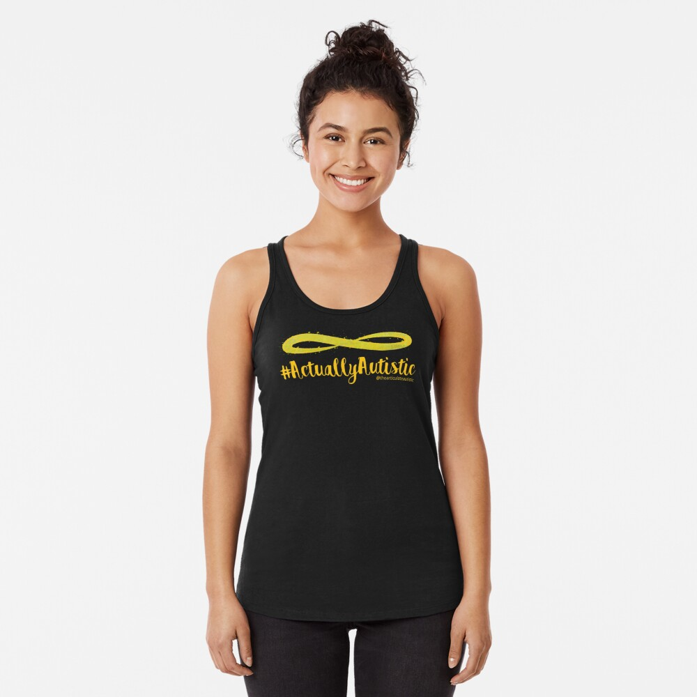 The Articulate Autistic Gold Infinity Logo Racerback Tank Top