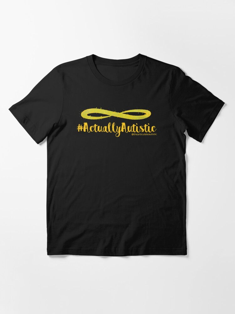 Alternate view of The Articulate Autistic Gold Infinity Logo Essential T-Shirt