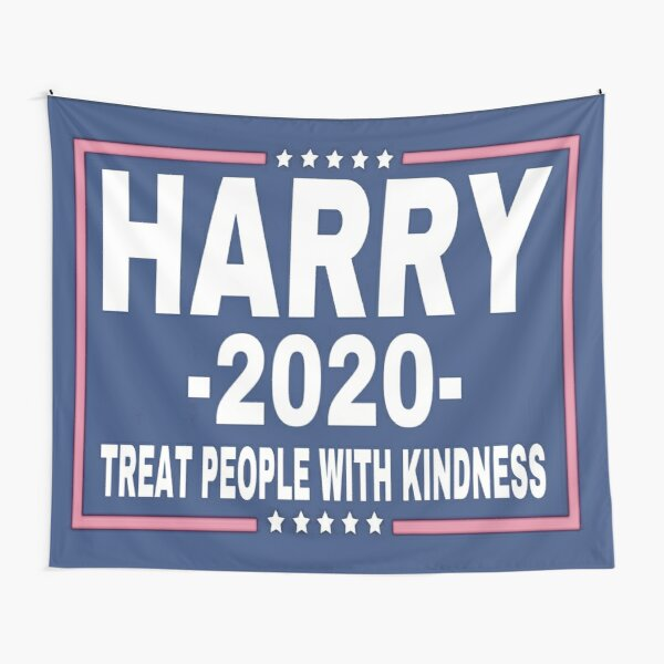 Harry 2020 President Treat People With Kindness, Pink and Blue Tapestry