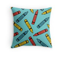 Crayons on Blue Pattern Throw Pillow