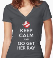 Go Get Her Ray Women's Fitted V-Neck T-Shirt
