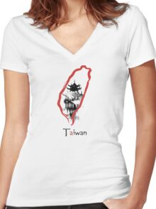 Taiwan Women's Fitted V-Neck T-Shirt