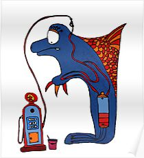 Dolphin, blue, sea, gas, station, comic, kids, love, ocean Poster