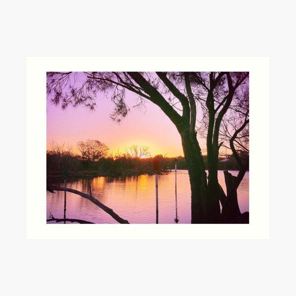 Pink Sunset over river Art Print