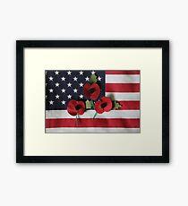 Poppies on a Flag Framed Print