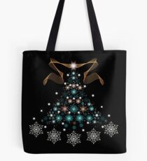 Christmas Tree on Black Background Tote Bag