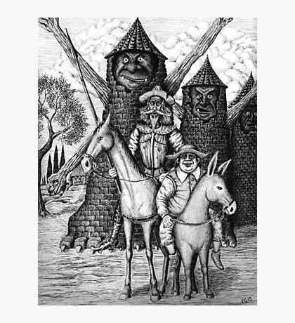 Don Quixote and Sancho Panza ink pen drawing Photographic Print