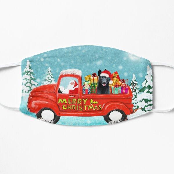 Christmas Santa Black German Shepherd Dog Christmas gifts delivery truck Flat Mask