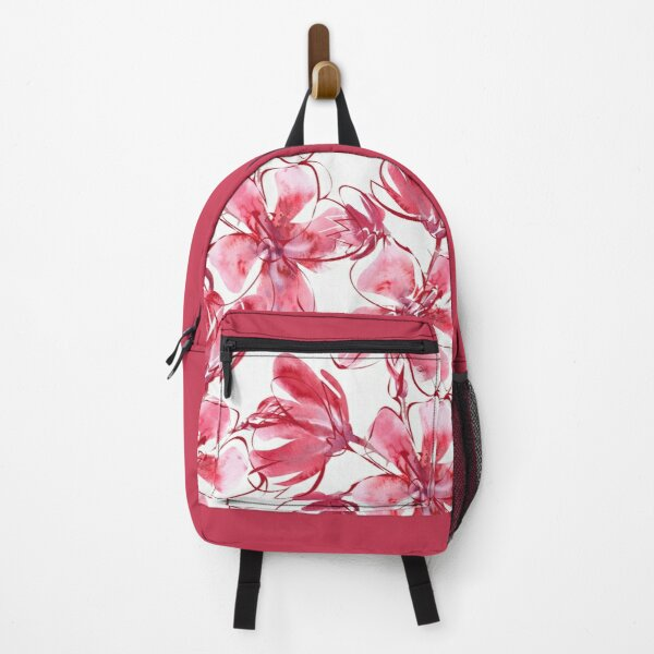 Floral Watercolor Painting in Carmine Pink & Red Backpack