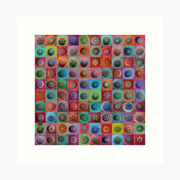 Jewel Drop Mandala Mosaic Art Print