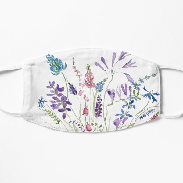 vintage wild flowers arrangement watercolor 2020 Flat Mask
