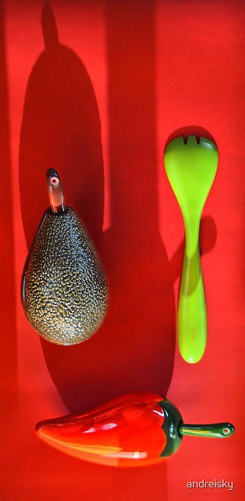 Avocado. pepper, fork by andreisky