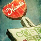 Heart's Coffee Shop Vintage Sign by Honey Malek