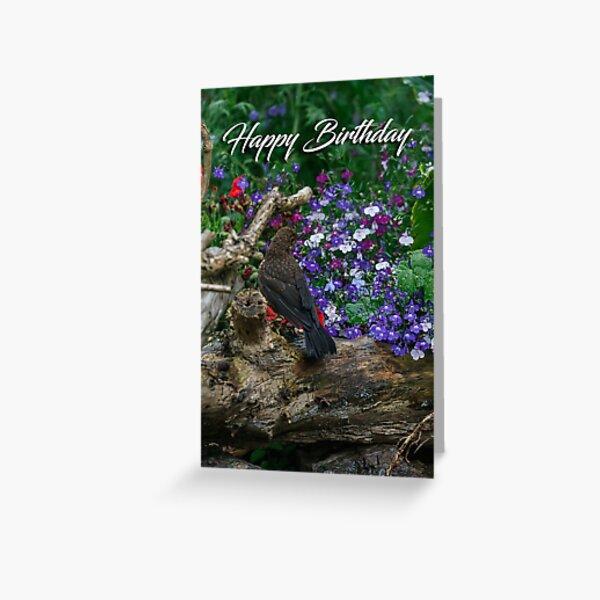 A blackbird on a log greeting card Greeting Card