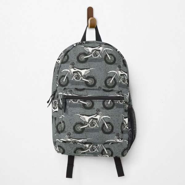 Motocross // grey green background black white and grey motorcycles Backpack