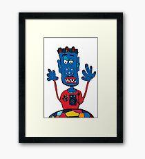 Goalkeeper, football, yellow, sport, monster, comic, children Framed Print
