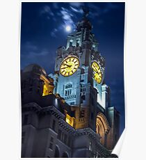Top of the Liver Building tower in Liverpool Poster