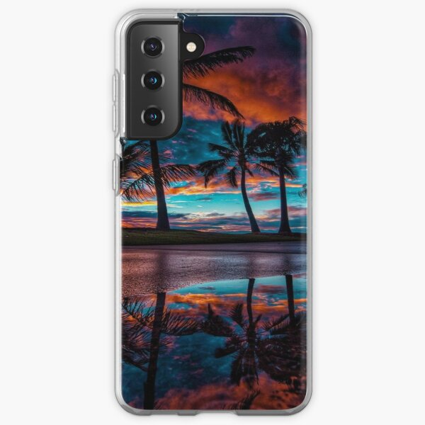 Tropical Palm Trees Beach Design. Samsung Galaxy Soft Case