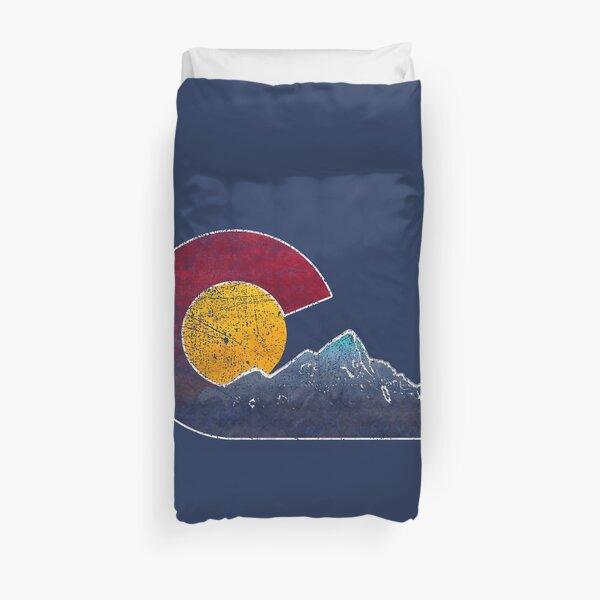 Colorado Flag Themed Mountain Scenery Duvet Cover