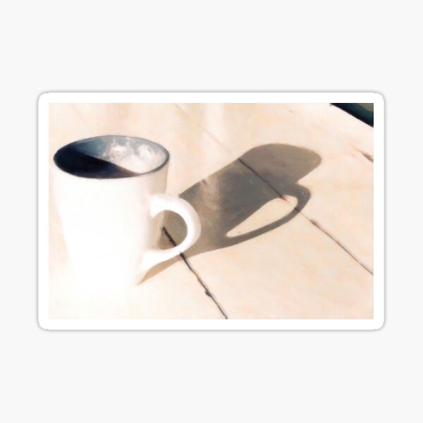 Coffee Relaxing on a Wooden Table Sticker