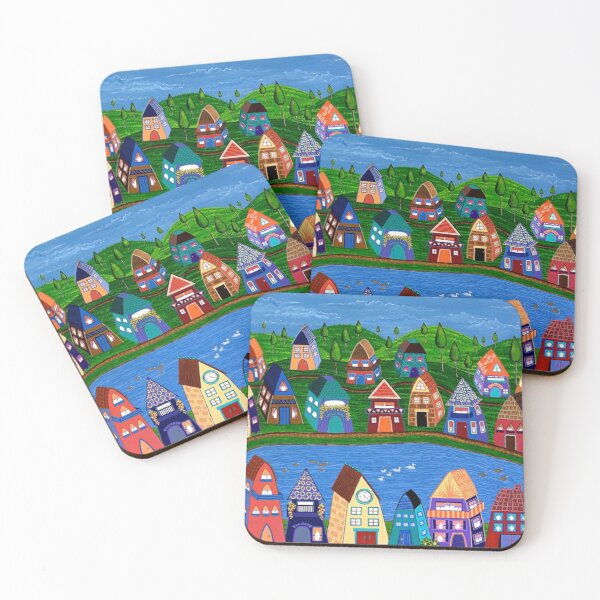 Tiny Houses by the River Coasters (Set of 4)