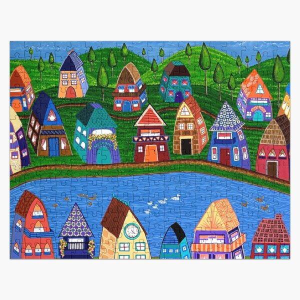 Tiny Houses by the River Jigsaw Puzzle
