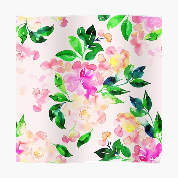 Watercolor hand painted pink and green flowers Poster
