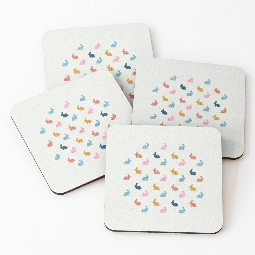 Bunny Rabbit Stamp Pattern - Multi-Color Coasters (Set of 4)