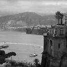 Mist on the Amalfi Coast Italy ~ Black/White by Lucinda Walter