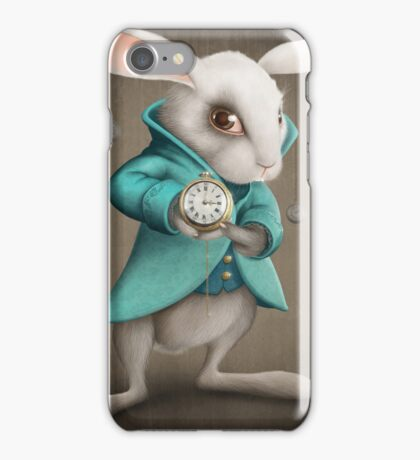 white rabbit with clock iPhone Case/Skin