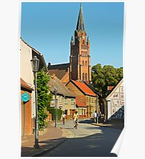 Small town of Roebel & St. Mary's church, Mecklenburg, Germany. Poster