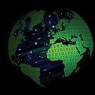 Binary Hi Technology Globe Prints  by CroDesign