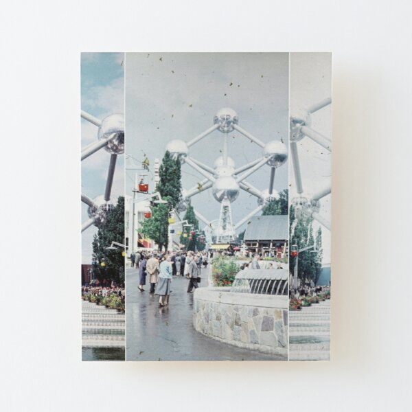 Brussels Atomium Photo Collage Wood Mounted Print