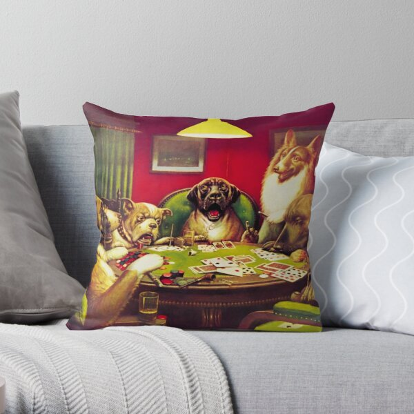 Dogs playing poker Throw Pillow