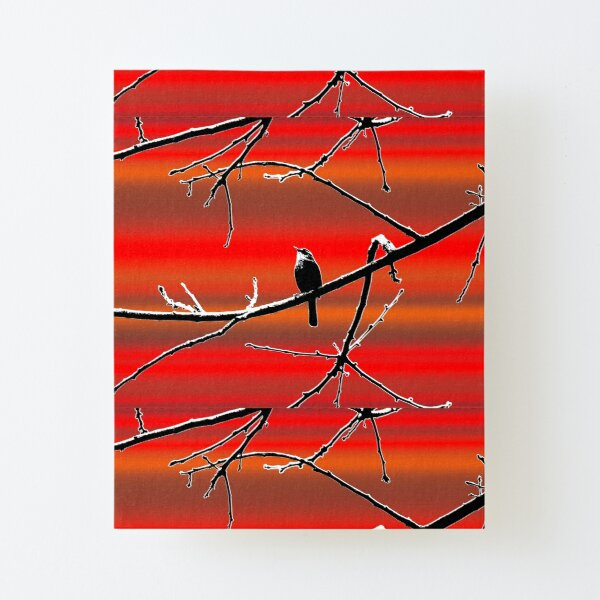 Wren on Branch Silhouette on Sunset Tones Canvas Mounted Print