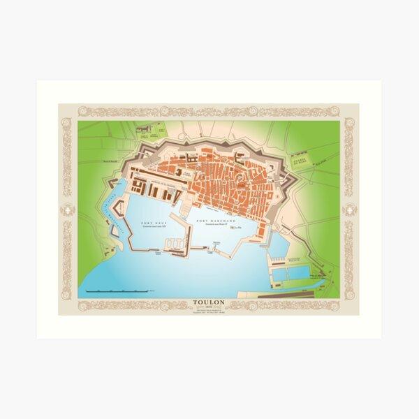 Carte vintage de Toulon en 1840 Impression artistique