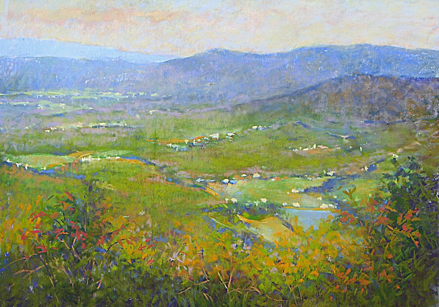 The Blue ridge mountains in the setting sun by Julia Lesnichy