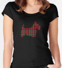 Roter Tartan Scotty Hund Tailliertes Rundhals-Shirt