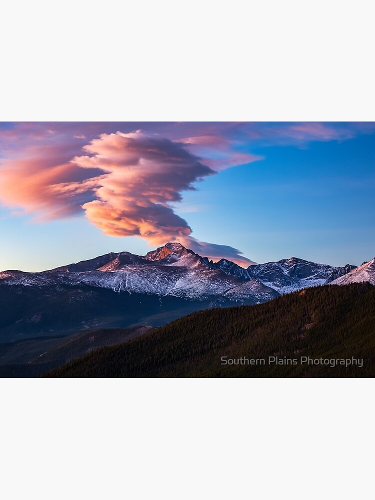 Fire on the Mountain - Sunrise Illuminates Cloud Over Longs Peak in Colorado by SeanRamsey